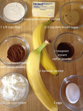 ingredients for Dark Cocoa Banana Muffins