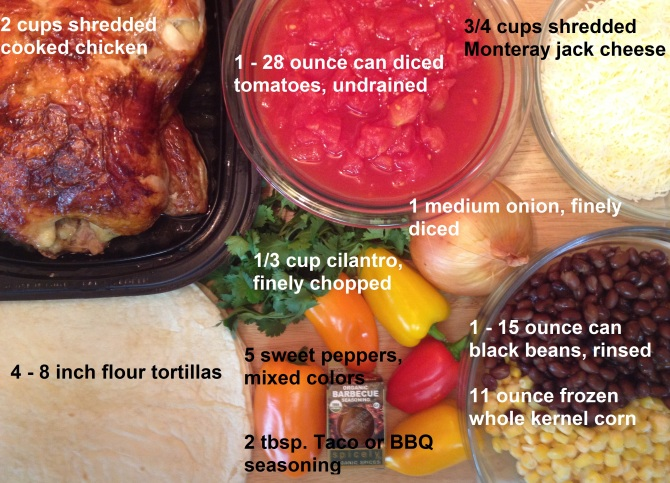 ingredients for Mexican Chicken Tortilla Pie