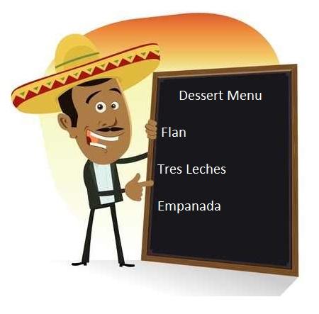 Mexican Dessert Menu