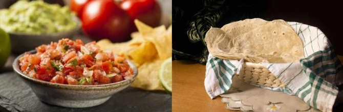 Tastes of Mexico with Pico de Gallo and Flour Tortillas