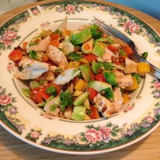 Rotisserie Chicken, Walnuts and Sautéed Vegetables