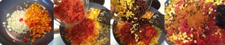 sauteeing, mixing and simmering vegetable bean mix for Mexican Chicken Tortilla Pie