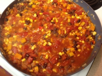 simmering vegetable bean mix for Mexican Chicken Tortilla Pie