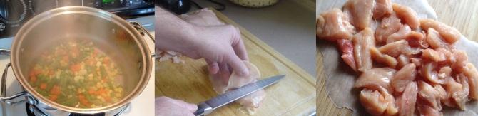steaming vegetables for Ouinoa Maya Chicken Bake