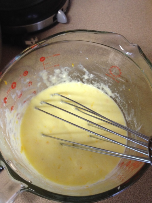 whisking wet ingredients