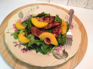 Almond Coconut Breaded Chicken with Peaches