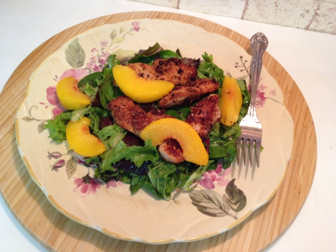 Almond Coconut Breaded Chicken with Peaches‏