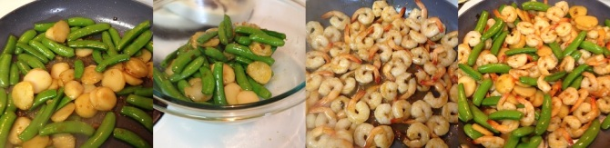 preparing and stir-frying Shrimp and Snap Pea Stir-Fry