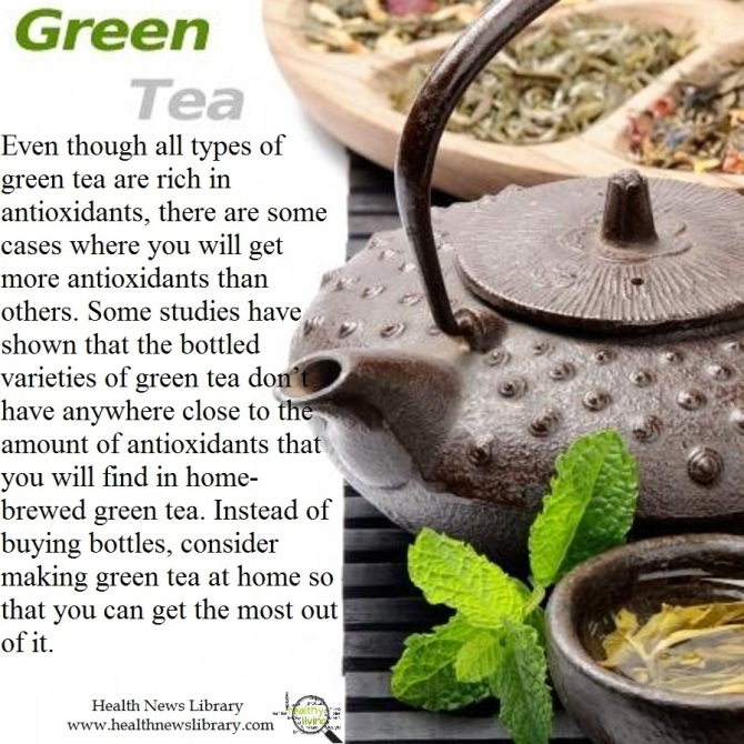 Brewed home made green tea more anti oxidents