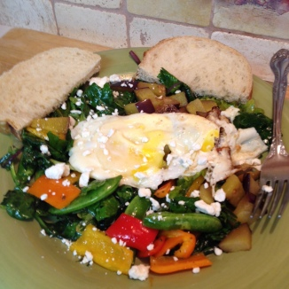Close up Fried Egg Snap Pea and Sweet Pepper Salad