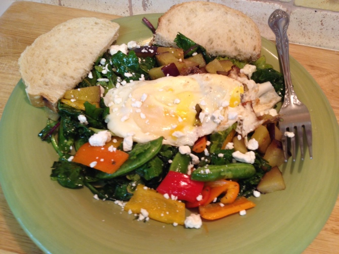 Fried Egg Snap Peas and Sweet Pepper Salad