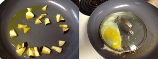 Frying egg plant and egg