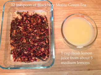 ingredients for Blackberry Mojito Tea Lemonade