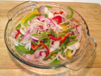 Sliced peppers and onions for Beef Steak Fajitas