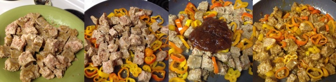 diced cooked orange ginger chicken sausage