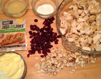 ingrdients for Herb Chicken Cranberry and Almond Salad