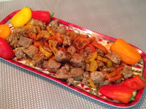Orange Ginger Chicken Sausage with Sweet Peppers