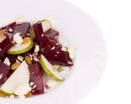 Fermented Beet and Fresh Pear Salad with Goat Cheese