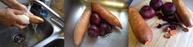 washing and preparing root vegetables for Baked Beets and Sweet Potato Chips
