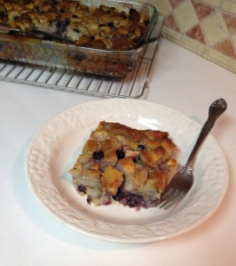 Blueberry Pear and White Chocolate Bread Pudding