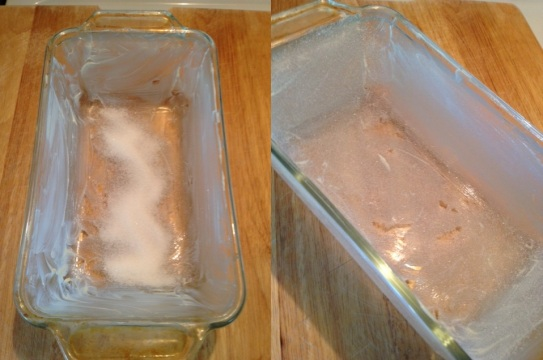 coating a glass baking pan with butter and sugar