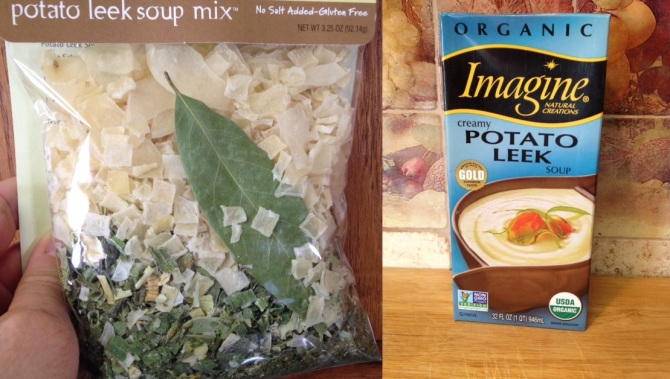 Dried potoate leek soup mix and prepared organic Creamy Potato Leek soup