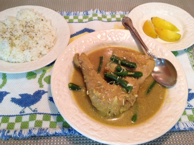 Chicken Curry Soup with a side of white rice