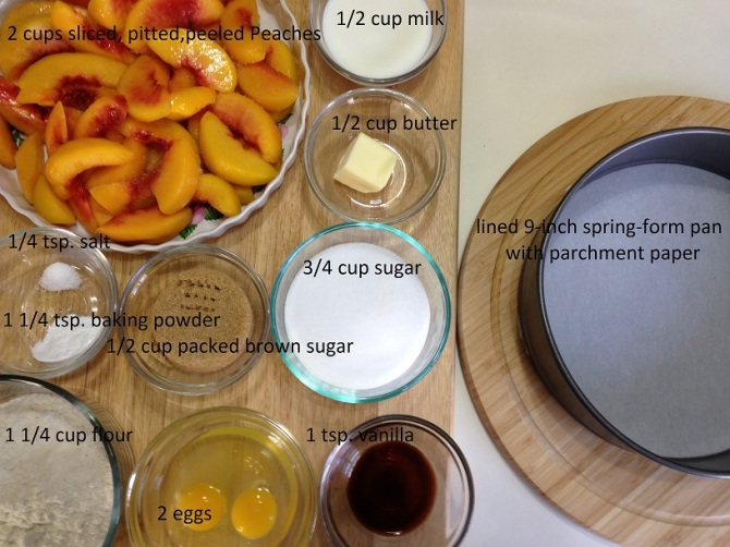 ingredients for Peach Upside Down Cake