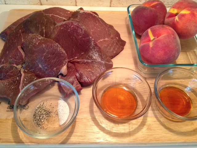 Meat and ingredients to make Peach Teriyaki Buffalo Sirloins