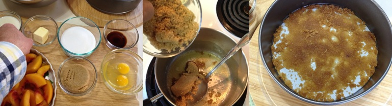 melting butter, adding brown sugar and spreading on bottom of spring form pan