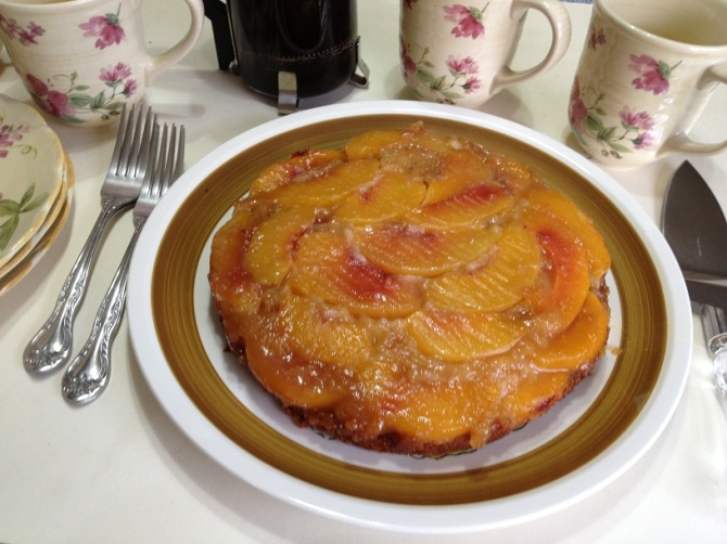Peach Upside Down Cake with Butter and Brown Sugar Glaze