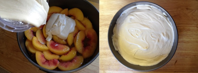 pour batter over peaches and spread