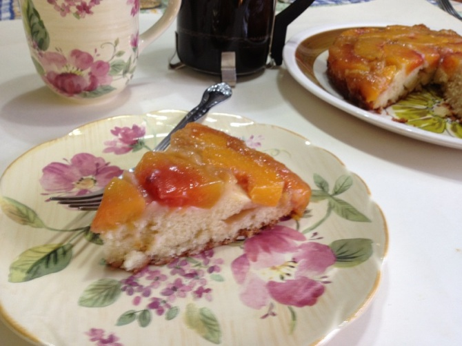 slice of Peach upside Down Cake with Butter and Brown Sugar Glaze
