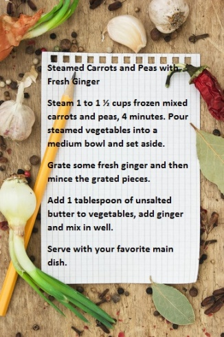 Recipe for Steamed Carrots and Peas with Fresh Ginger