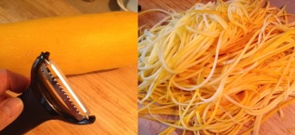 Yellow Summer Squash Pasta and Sauce - Shaving Squash into Spaghetti