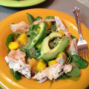Chicken Avocado and Watercress Salad - close-up