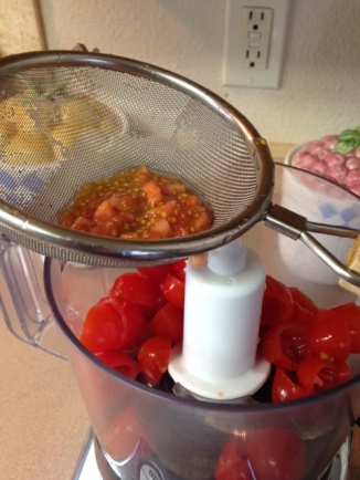 chopped Plum tomatoes in food processor