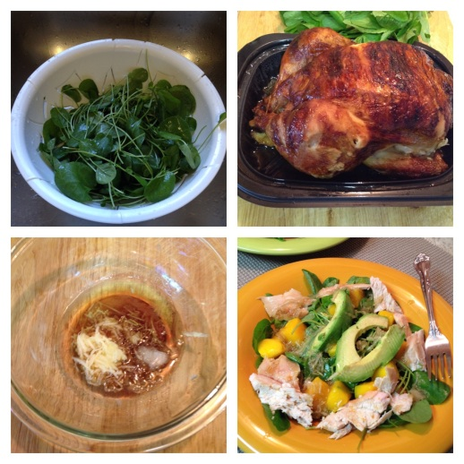 Collage of Chicken Avocado and Watercress Salad