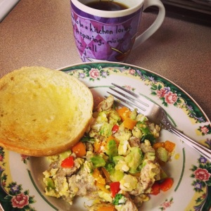 Scrambbled Eggs with Apple Chicken Sausage and Vegetables -  Putting Breakfast at the Top of Your List