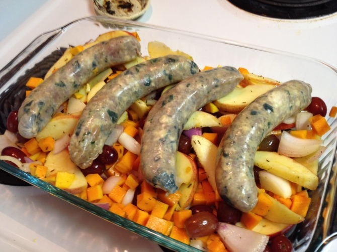 Ready to roast Roasted Turkey Sausage with Apples and Butternut Squash