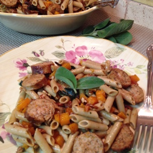 Roasted Butternut Squash and Sausage with Gluten Free Penne Pasta - close up
