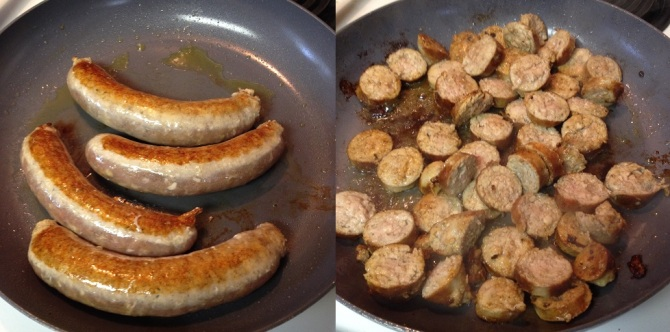 searing chicken sausage for Roasted Butternut Squash and Sausage with Gluten Free Penne Pasta