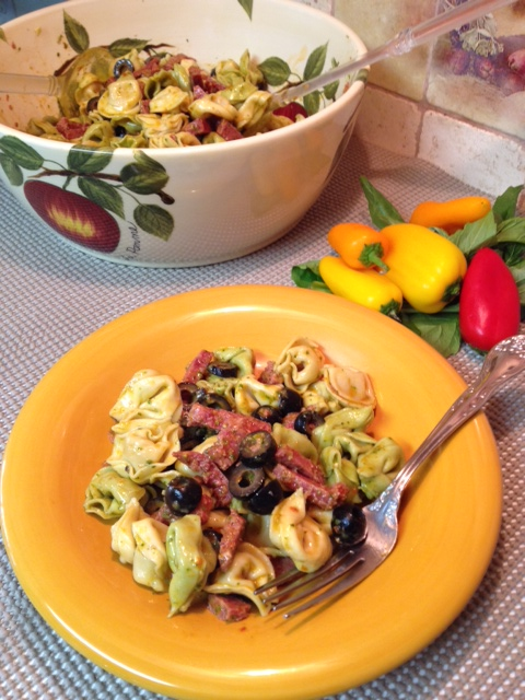 Tortellini and Summer Sausage with Tomato Basil Vinagrette