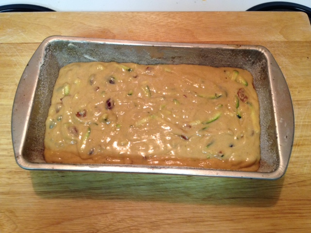 baking pan ready to bake - Gluten Free Zucchini Cranberry Bread