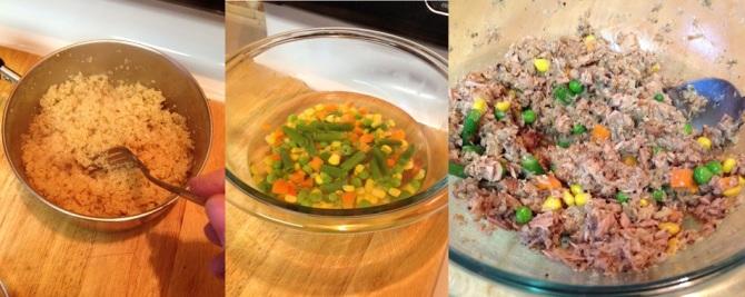 Mixing ingredients for - Ouinoa Tuna Patties