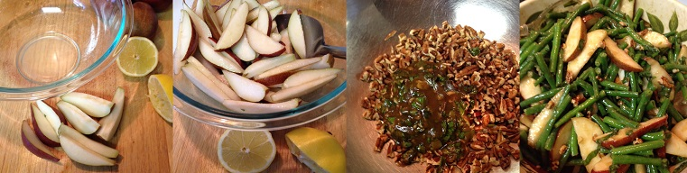 Preparing Red Pear and French Bean Salad