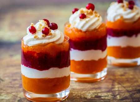 Layered Pumpkin and Cranberry Parfaits