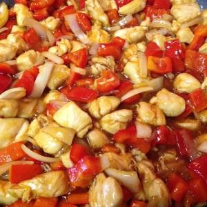 mixing in orange suace - Orange Mandarin Chicken