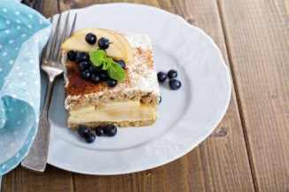 Apple Whole Wheat Bread Strata with Cream Cheese Glaze - slice