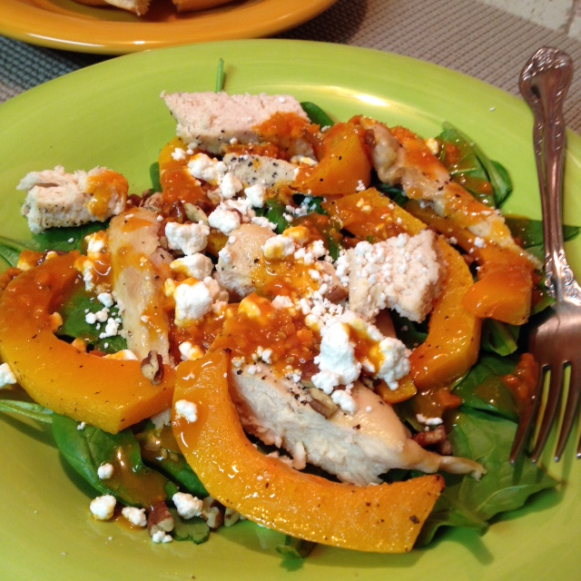 (close up) Roasted Chicken and Butternut Squash with Spinach and Goat Cheese Salad